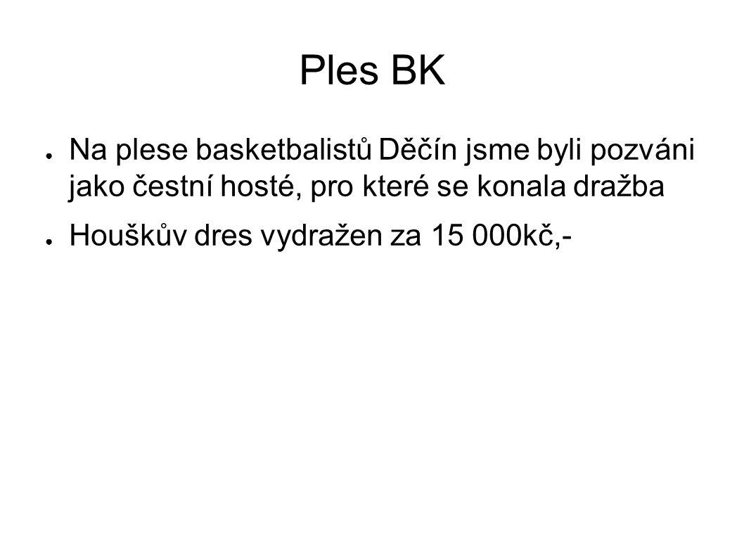 Ples BK ● Na plese basketbalistů Děčín jsme byli pozváni jako čestní hosté, pro které se konala dražba ● Houškův dres vydražen za 15 000kč,-