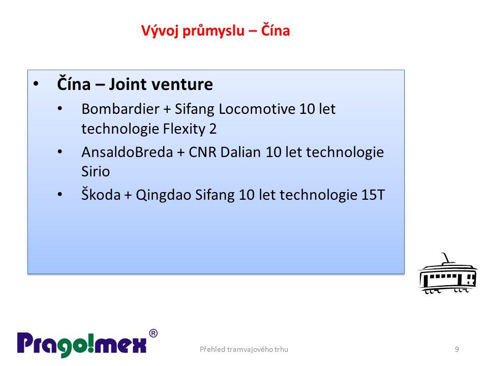 Čína – Joint venture Bombardier + Sifang Locomotive 10 let technologie Flexity 2 AnsaldoBreda + CNR Dalian 10 let technologie Sirio Škoda + Qingdao Si