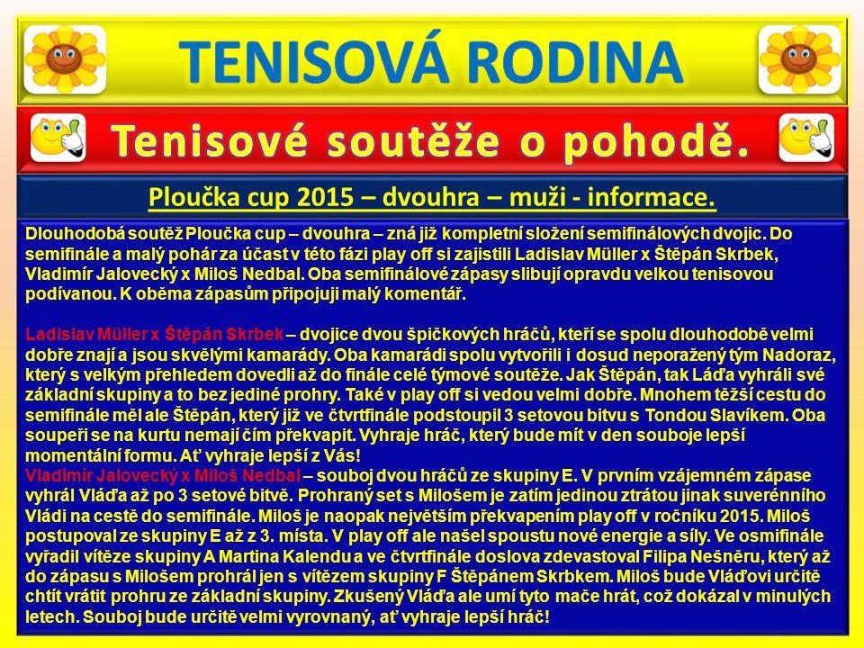 Ploučka cup 2015 – dvouhra – muži - informace. Dlouhodobá soutěž Ploučka cup – dvouhra – zná již kompletní složení semifinálových dvojic. Do semifinál