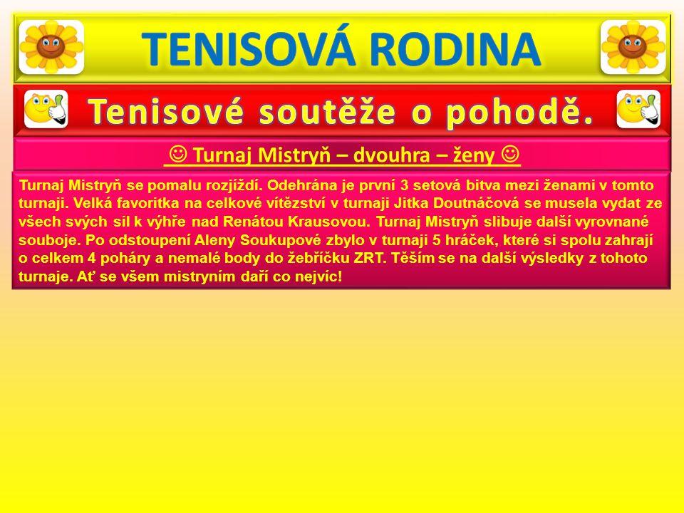 Turnaj Mistryň – dvouhra – ženy Turnaj Mistryň se pomalu rozjíždí. Odehrána je první 3 setová bitva mezi ženami v tomto turnaji. Velká favoritka na ce