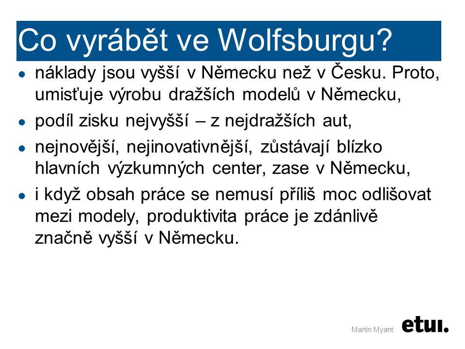 Co vyrábět ve Wolfsburgu? ● náklady jsou vyšší v Německu než v Česku. Proto, umisťuje výrobu dražších modelů v Německu, ● podíl zisku nejvyšší – z nej