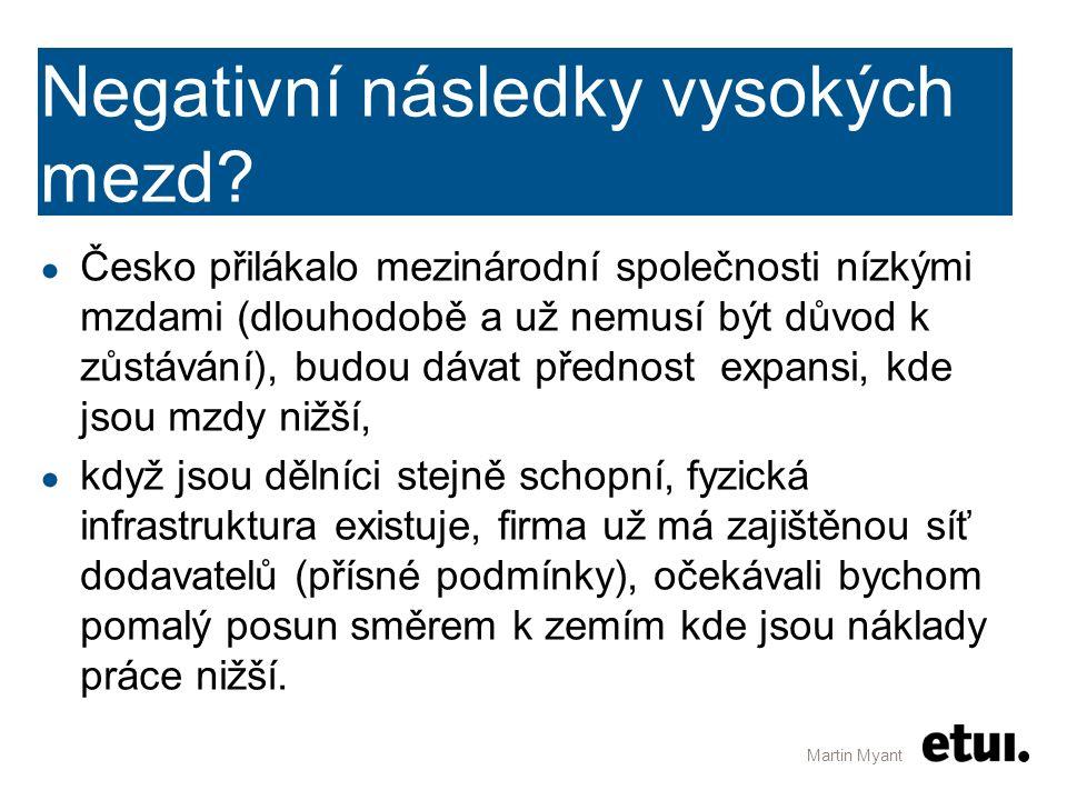 Negativní následky vysokých mezd? ● Česko přilákalo mezinárodní společnosti nízkými mzdami (dlouhodobě a už nemusí být důvod k zůstávání), budou dávat
