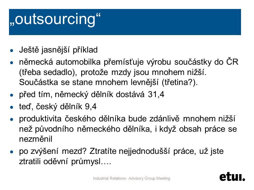 """""""outsourcing"""" ● Ještě jasnější příklad ● německá automobilka přemísťuje výrobu součástky do ČR (třeba sedadlo), protože mzdy jsou mnohem nižší. Součás"""