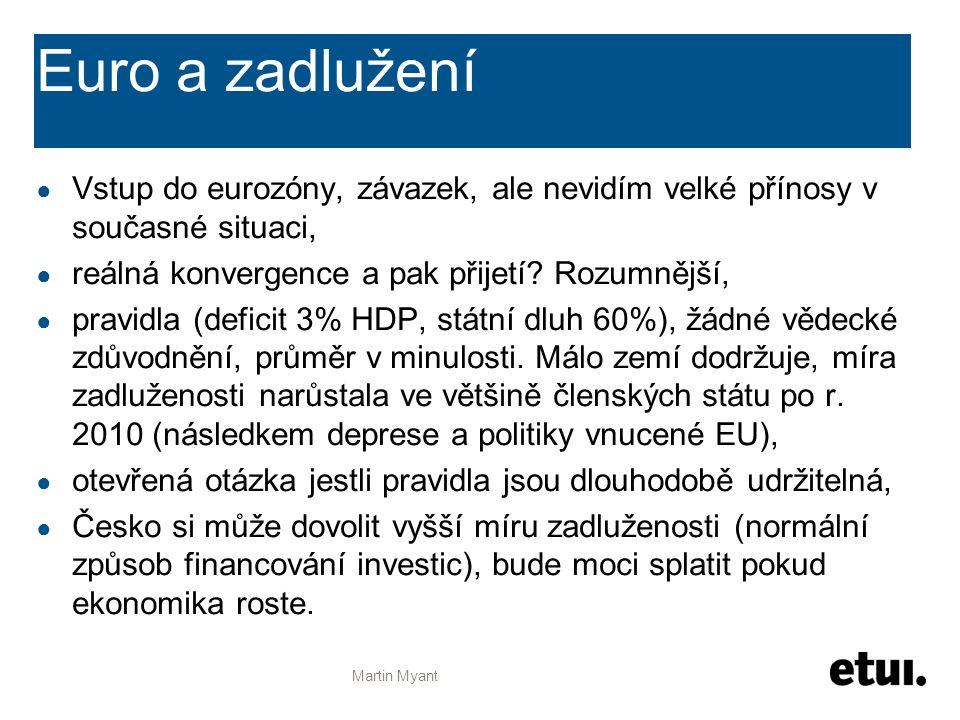Euro a zadlužení ● Vstup do eurozóny, závazek, ale nevidím velké přínosy v současné situaci, ● reálná konvergence a pak přijetí? Rozumnější, ● pravidl