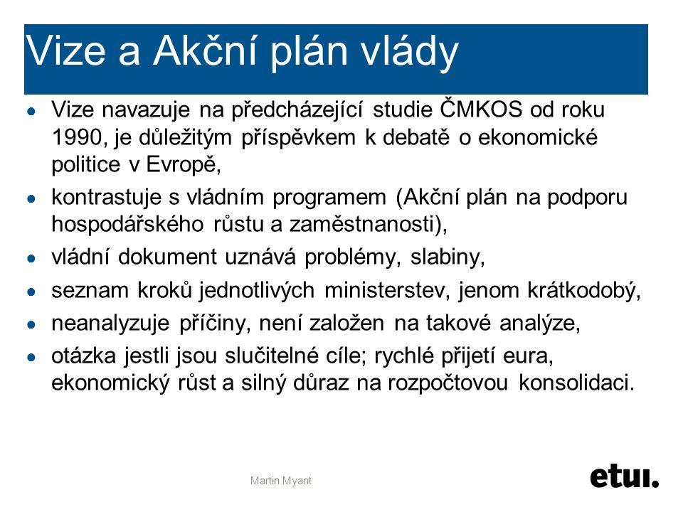 Vize a Akční plán vlády ● Vize navazuje na předcházející studie ČMKOS od roku 1990, je důležitým příspěvkem k debatě o ekonomické politice v Evropě, ●