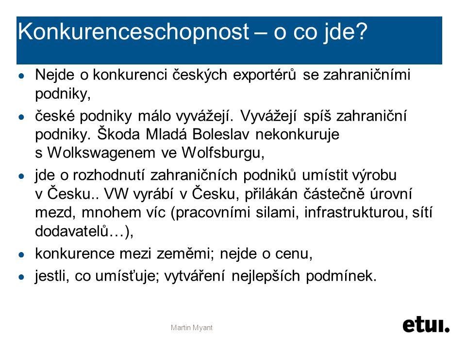 Konkurenceschopnost – o co jde? ● Nejde o konkurenci českých exportérů se zahraničními podniky, ● české podniky málo vyvážejí. Vyvážejí spíš zahraničn