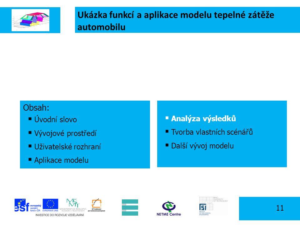 Ukázka funkcí a aplikace modelu tepelné zátěže automobilu 11 Obsah:  Úvodní slovo  Vývojové prostředí  Uživatelské rozhraní  Aplikace modelu  Analýza výsledků  Tvorba vlastních scénářů  Další vývoj modelu