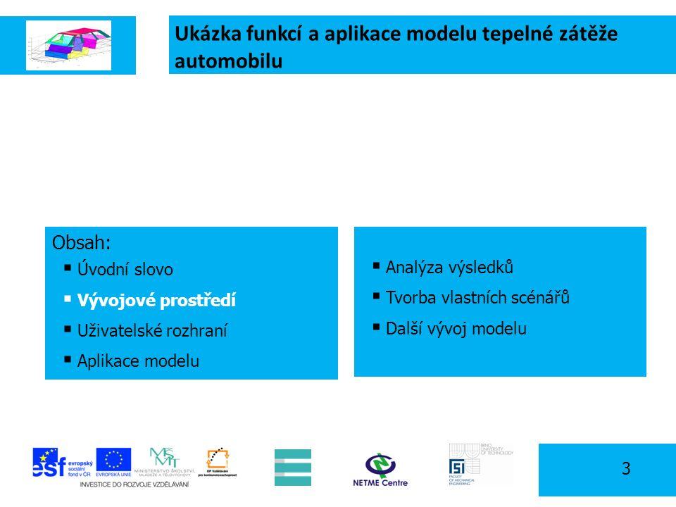 Ukázka funkcí a aplikace modelu tepelné zátěže automobilu 3 Obsah:  Úvodní slovo  Vývojové prostředí  Uživatelské rozhraní  Aplikace modelu  Analýza výsledků  Tvorba vlastních scénářů  Další vývoj modelu