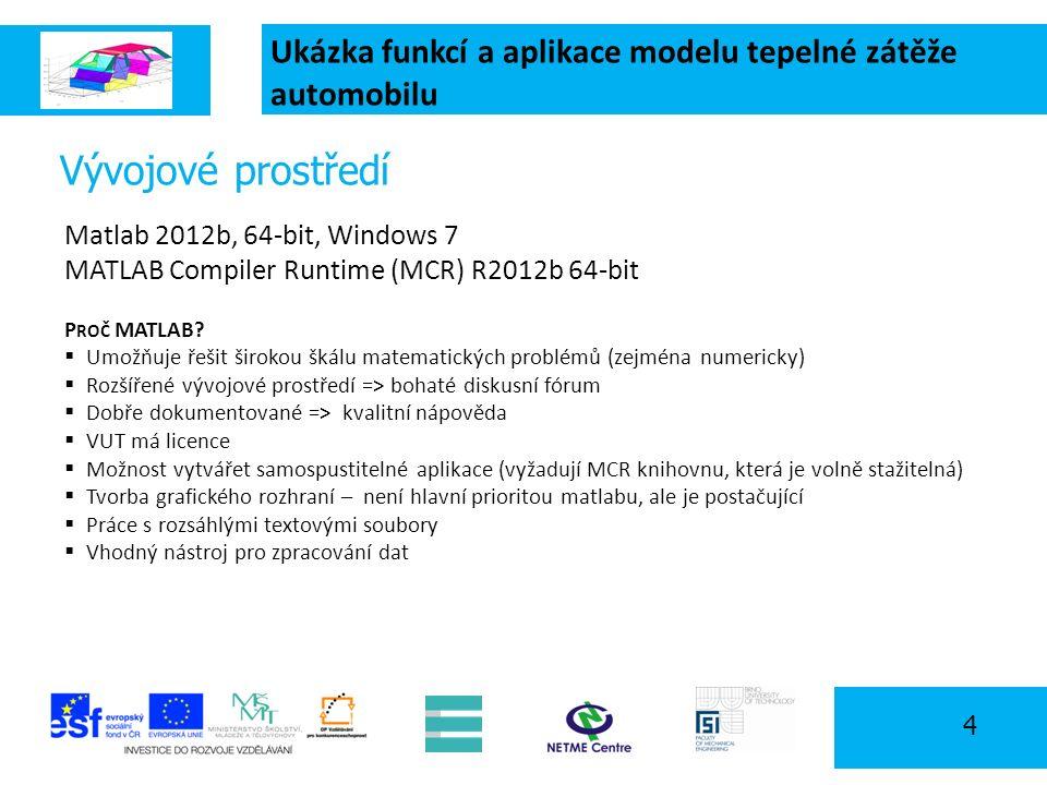 Ukázka funkcí a aplikace modelu tepelné zátěže automobilu 4 Vývojové prostředí Matlab 2012b, 64-bit, Windows 7 MATLAB Compiler Runtime (MCR) R2012b 64-bit P ROČ MATLAB.