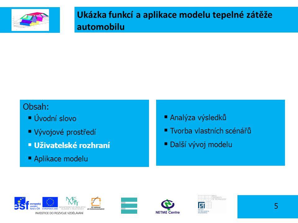Ukázka funkcí a aplikace modelu tepelné zátěže automobilu 5 Obsah:  Úvodní slovo  Vývojové prostředí  Uživatelské rozhraní  Aplikace modelu  Analýza výsledků  Tvorba vlastních scénářů  Další vývoj modelu