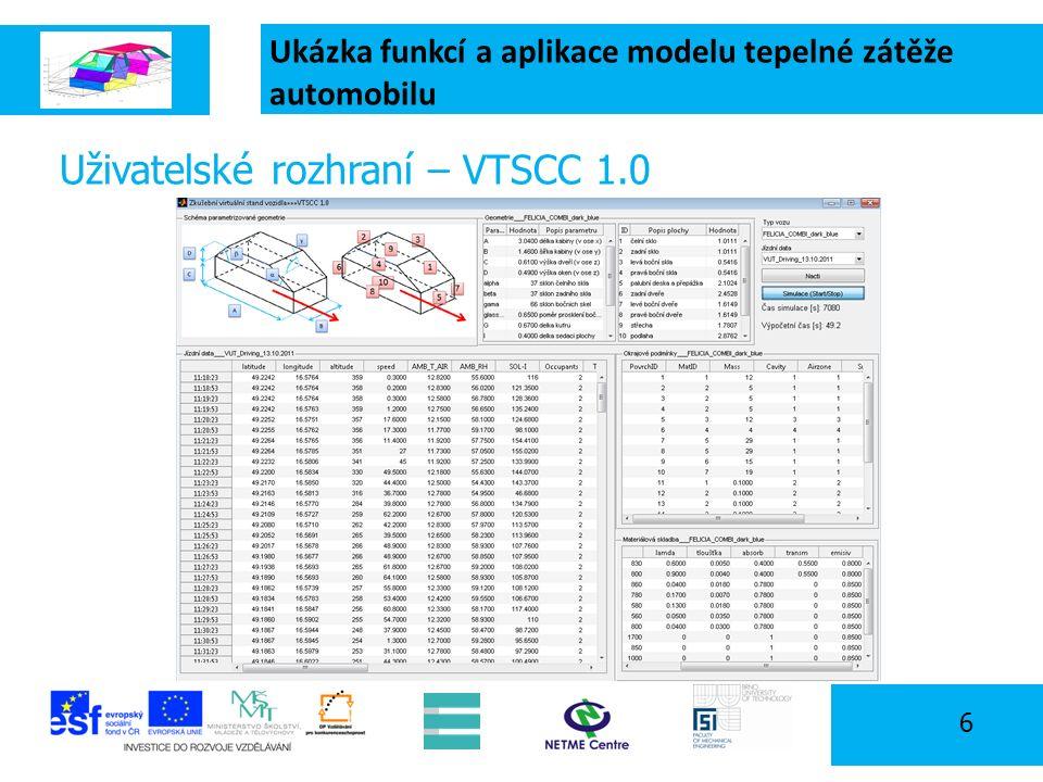 Ukázka funkcí a aplikace modelu tepelné zátěže automobilu 6 Uživatelské rozhraní – VTSCC 1.0