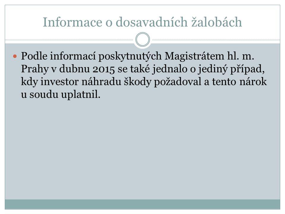Informace o dosavadních žalobách Podle informací poskytnutých Magistrátem hl.