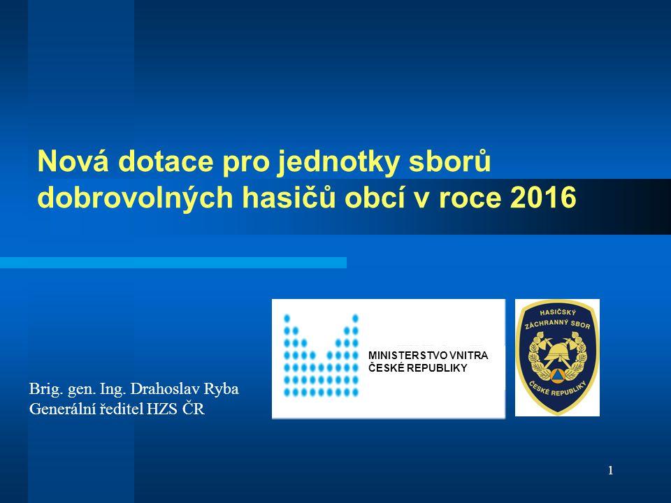 Nová dotace pro jednotky sborů dobrovolných hasičů obcí v roce 2016 1 MINISTERSTVO VNITRA ČESKÉ REPUBLIKY Brig.