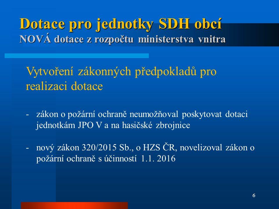 6 Dotace pro jednotky SDH obcí NOVÁ dotace z rozpočtu ministerstva vnitra Vytvoření zákonných předpokladů pro realizaci dotace -zákon o požární ochraně neumožňoval poskytovat dotaci jednotkám JPO V a na hasičské zbrojnice -nový zákon 320/2015 Sb., o HZS ČR, novelizoval zákon o požární ochraně s účinností 1.1.