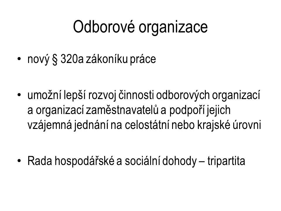 Odborové organizace nový § 320a zákoníku práce umožní lepší rozvoj činnosti odborových organizací a organizací zaměstnavatelů a podpoří jejich vzájemná jednání na celostátní nebo krajské úrovni Rada hospodářské a sociální dohody – tripartita