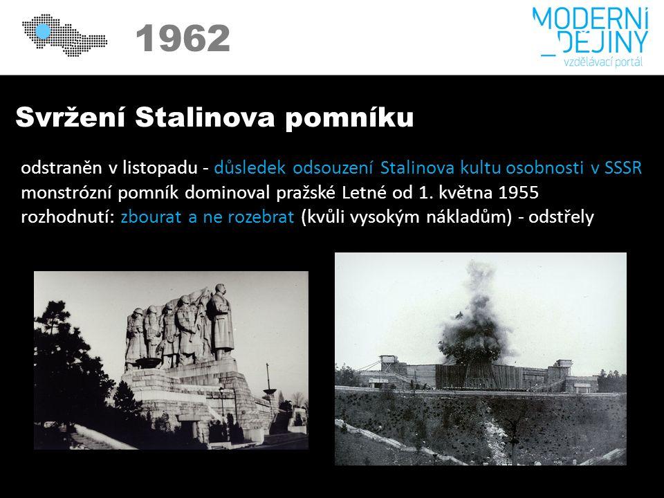 1950 1962 Svržení Stalinova pomníku odstraněn v listopadu - důsledek odsouzení Stalinova kultu osobnosti v SSSR monstrózní pomník dominoval pražské Letné od 1.