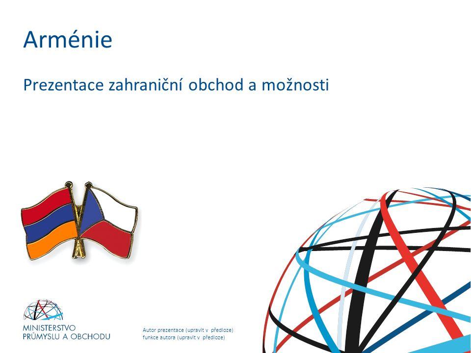 Autor prezentace (upravit v předloze) funkce autora (upravit v předloze) NADPIS PREZENTACE (upravit v předloze) Arménie Prezentace zahraniční obchod a možnosti