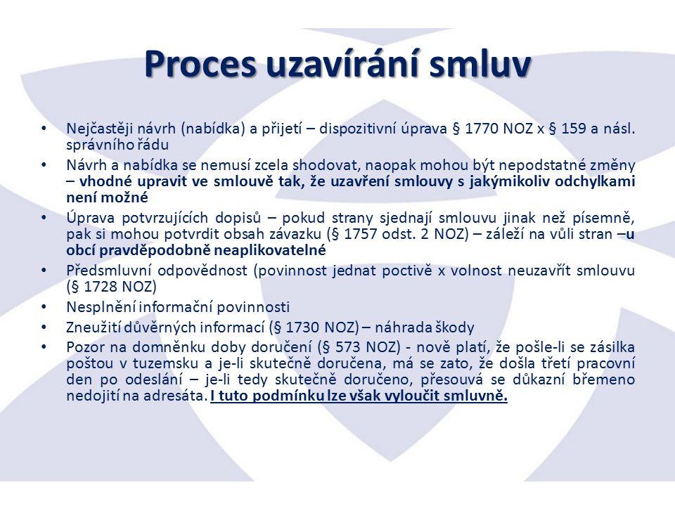 Proces uzavírání smluv Nejčastěji návrh (nabídka) a přijetí – dispozitivní úprava § 1770 NOZ x § 159 a násl.