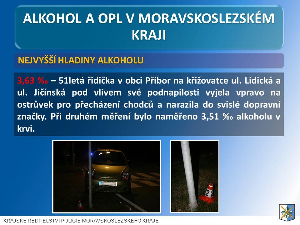 ALKOHOL A OPL V MORAVSKOSLEZSKÉM KRAJI 3,63 ‰ – 51letá řidička v obci Příbor na křižovatce ul.