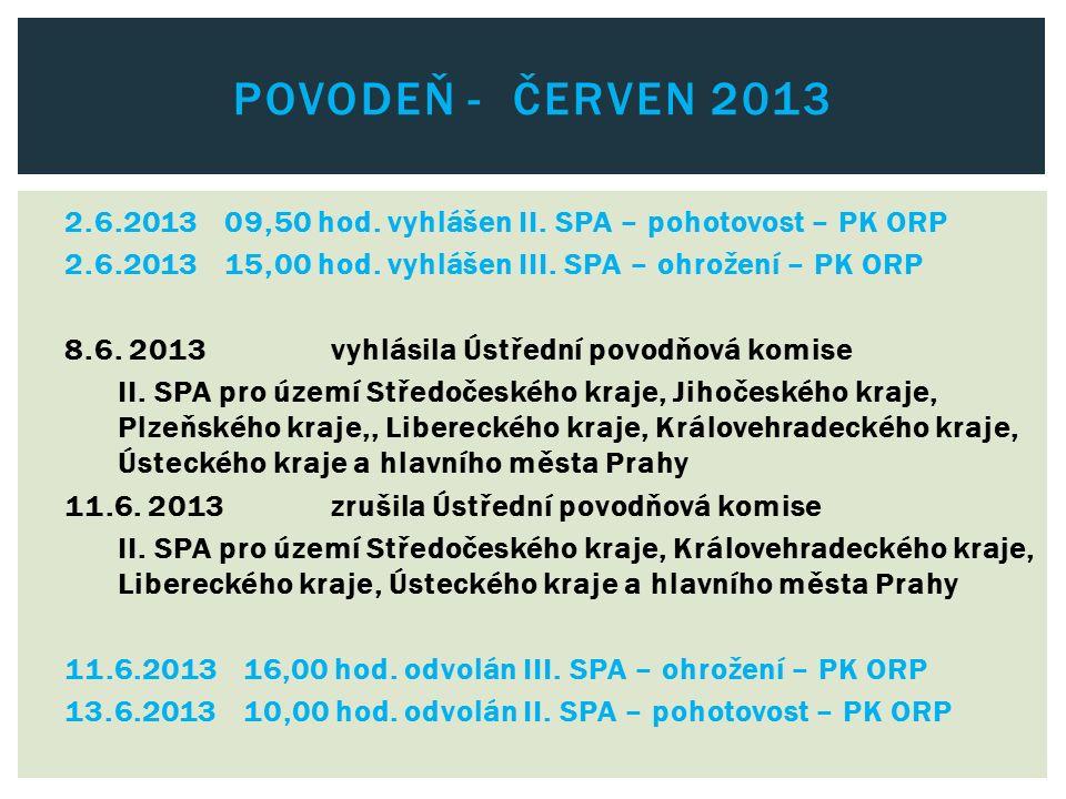 2.6.201309,50 hod. vyhlášen II. SPA – pohotovost – PK ORP 2.6.201315,00 hod. vyhlášen III. SPA – ohrožení – PK ORP 8.6. 2013vyhlásila Ústřední povodňo