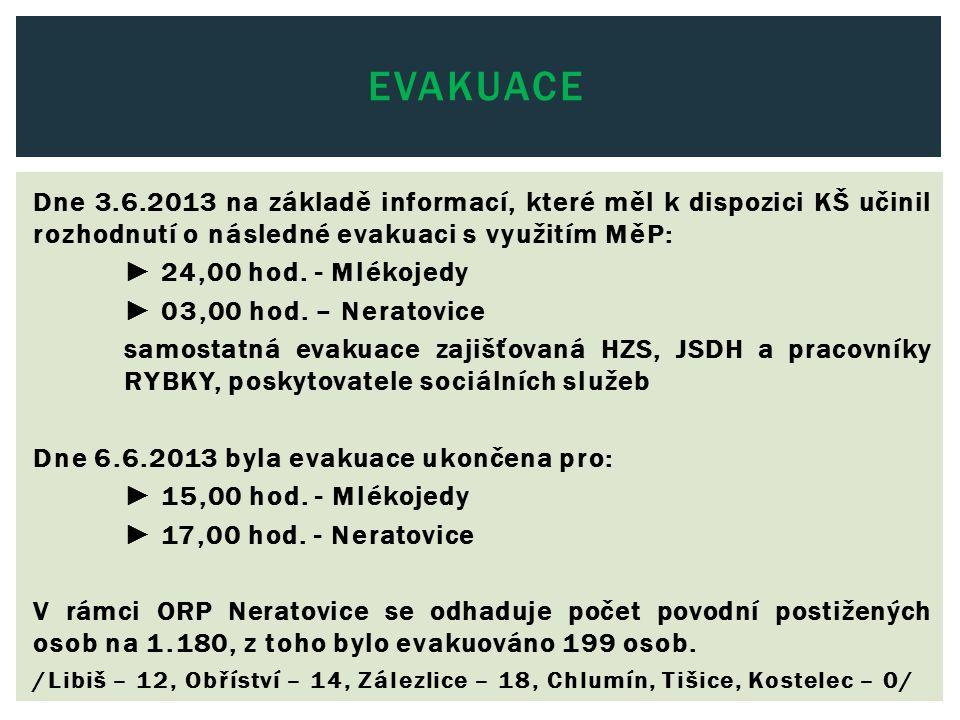 Dne 3.6.2013 na základě informací, které měl k dispozici KŠ učinil rozhodnutí o následné evakuaci s využitím MěP: ► 24,00 hod. - Mlékojedy ► 03,00 hod