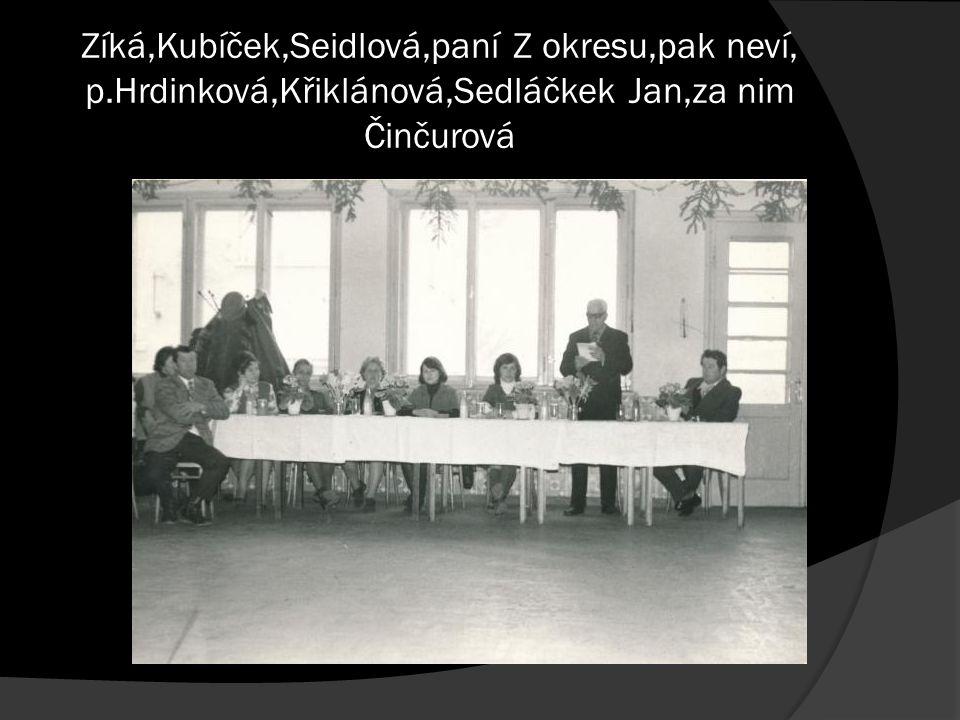 Zíká,Kubíček,Seidlová,paní Z okresu,pak neví, p.Hrdinková,Křiklánová,Sedláčkek Jan,za nim Činčurová