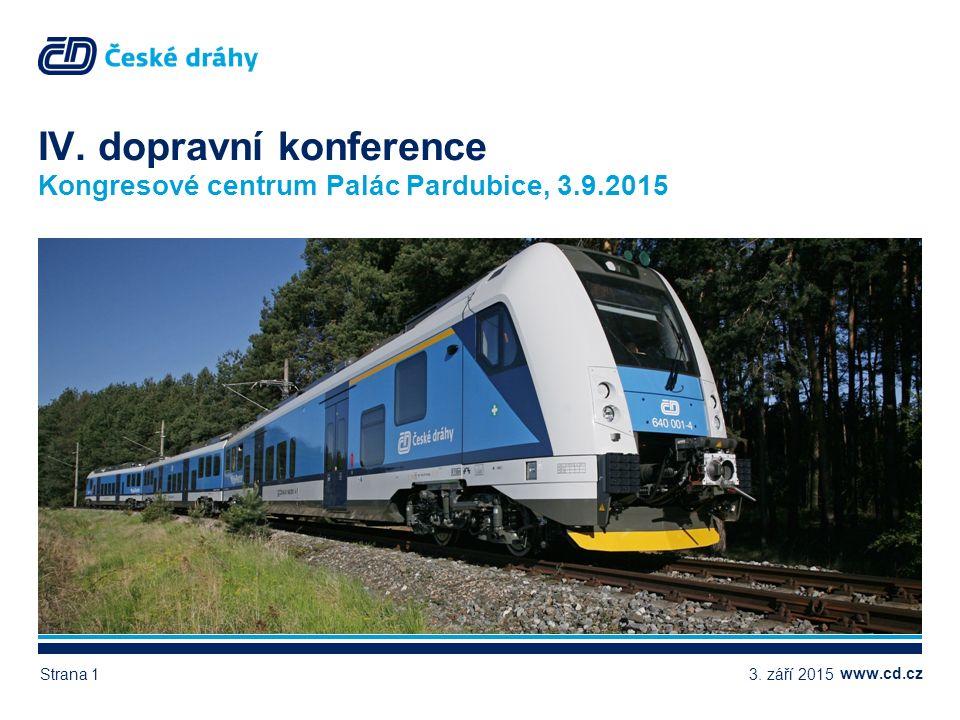 www.cd.cz IV. dopravní konference Kongresové centrum Palác Pardubice, 3.9.2015 3. září 2015Strana 1
