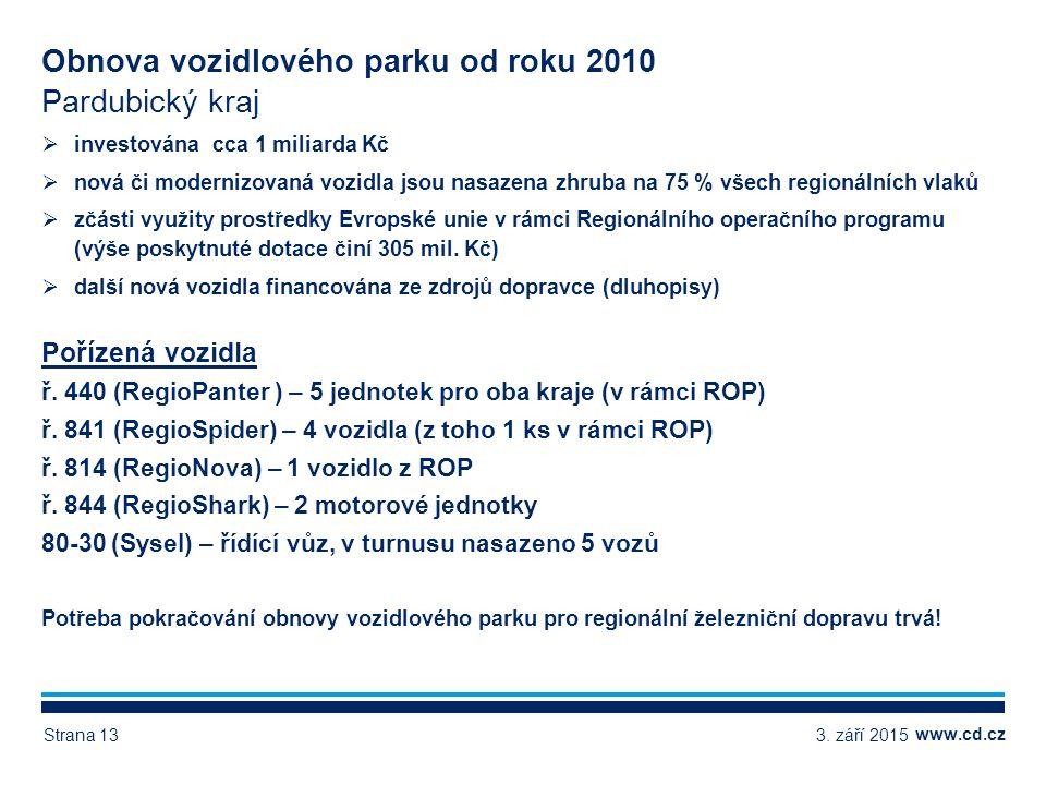 www.cd.cz Obnova vozidlového parku od roku 2010 Pardubický kraj  investována cca 1 miliarda Kč  nová či modernizovaná vozidla jsou nasazena zhruba na 75 % všech regionálních vlaků  zčásti využity prostředky Evropské unie v rámci Regionálního operačního programu (výše poskytnuté dotace činí 305 mil.