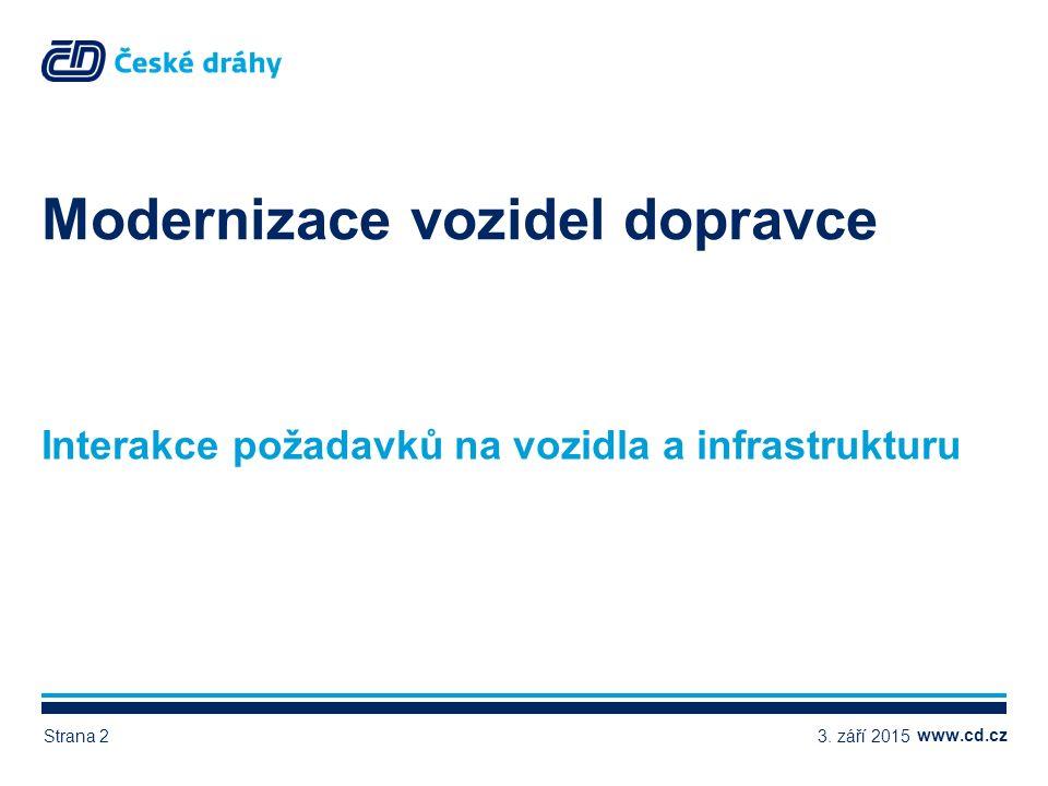 www.cd.cz Konkurence schopná a přitažlivá železniční doprava DOPRAVCE Kvalitní a spolehlivá železniční vozidla STÁT (SŽDC) Kvalitní a spolehlivá železniční dopravní cesta VEŘEJNOST Fungující a udržitelný systém dopravní obsluhy a spokojený cestující 3.