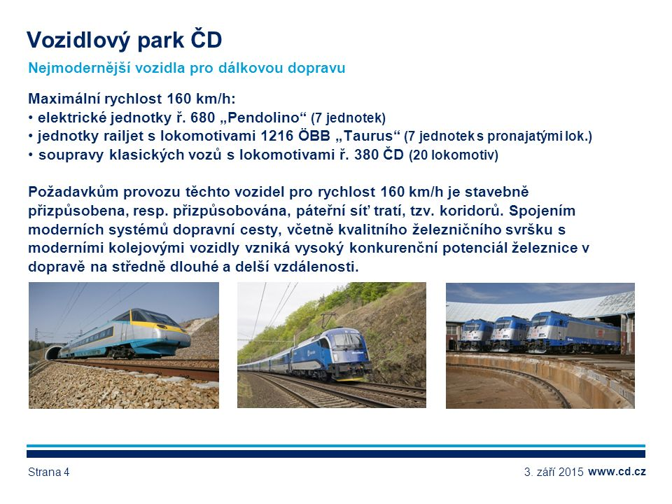www.cd.cz Další vozidla pro dálkovou dopravu - ukázky Vozidlový park ČD 3.