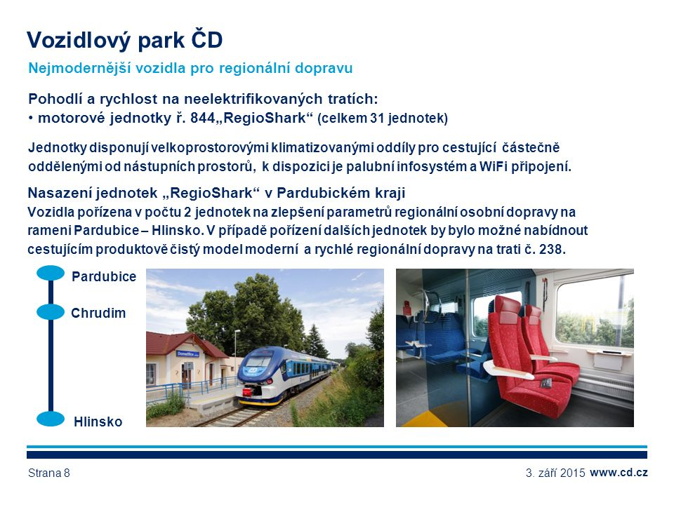 www.cd.cz Nejmodernější vozidla pro regionální dopravu Vozidlový park ČD 3.