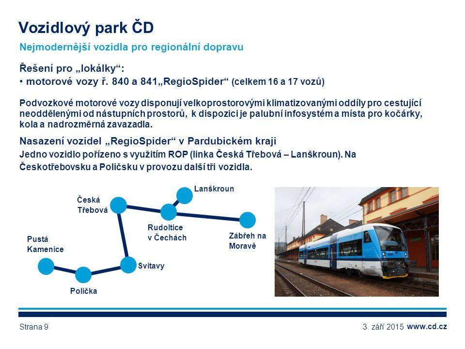 www.cd.cz Další vozidla pro regionální dopravu - ukázky Vozidlový park ČD 3.