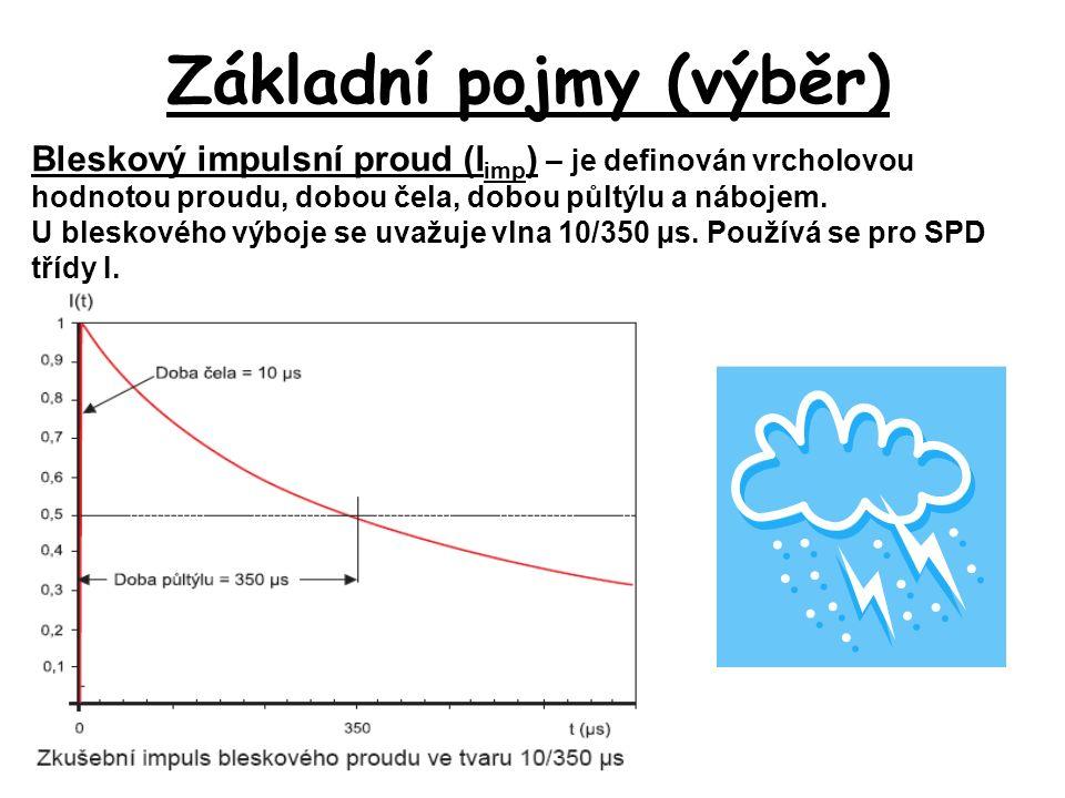Základní pojmy (výběr) Bleskový impulsní proud (I imp ) – je definován vrcholovou hodnotou proudu, dobou čela, dobou půltýlu a nábojem.