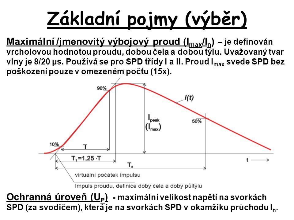Základní pojmy (výběr) Maximální /jmenovitý výbojový proud (I max /I n ) – je definován vrcholovou hodnotou proudu, dobou čela a dobou týlu.