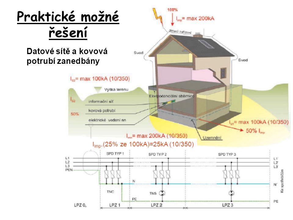 I imp.(25% ze 100kA)=25kA (10/350) Praktické možné řešení Datové sítě a kovová potrubí zanedbány