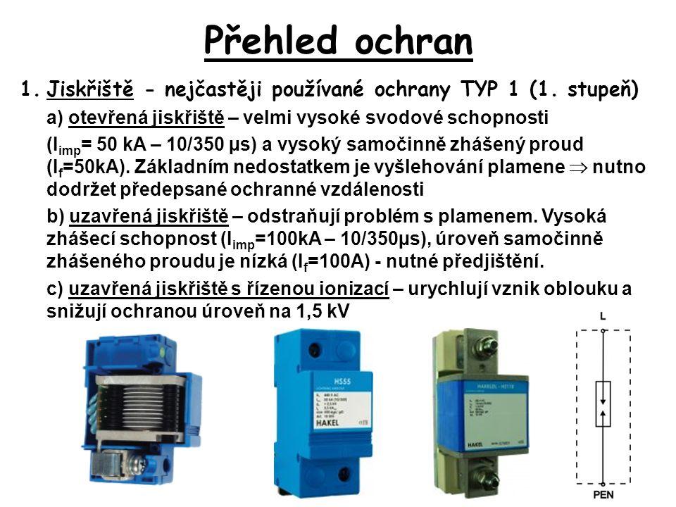 Přehled ochran 1.Jiskřiště - nejčastěji používané ochrany TYP 1 (1.