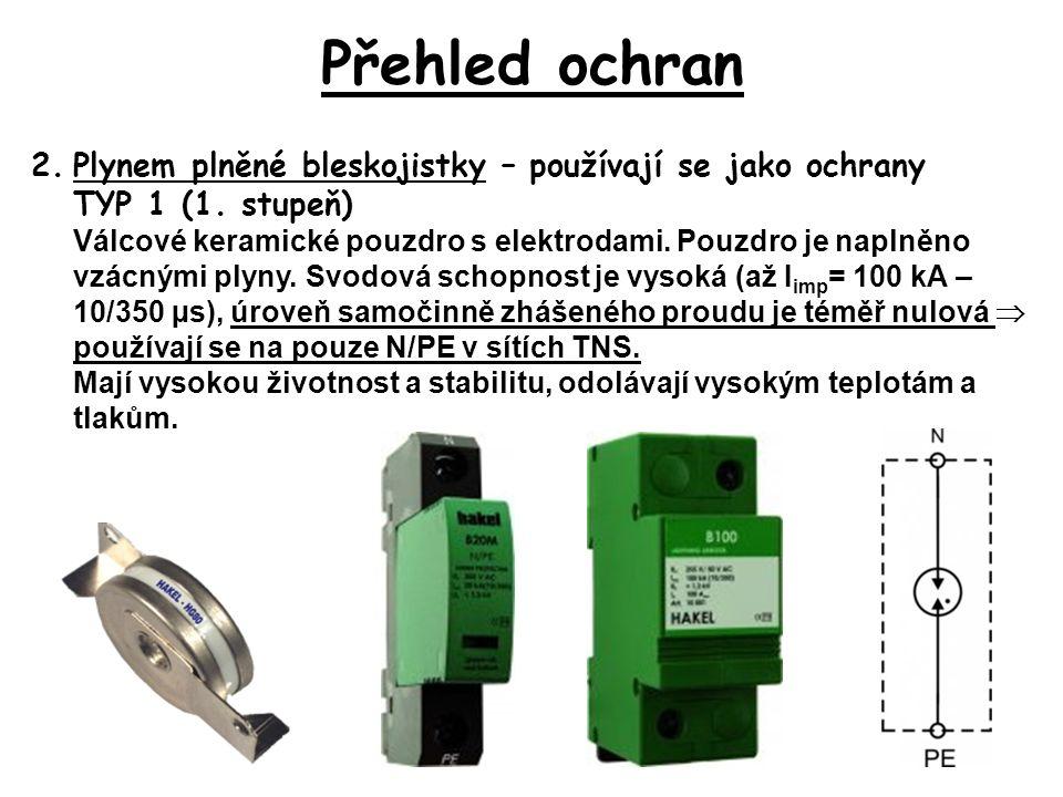 Přehled ochran 2.Plynem plněné bleskojistky – používají se jako ochrany TYP 1 (1.