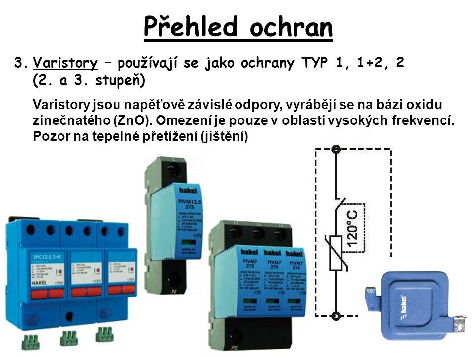 Přehled ochran 3.Varistory – používají se jako ochrany TYP 1, 1+2, 2 (2.