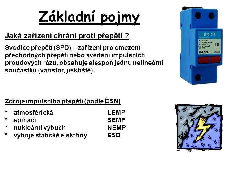 Základní pojmy Zdroje impulsního přepětí (podle ČSN) *atmosférickáLEMP *spínacíSEMP *nukleární výbuchNEMP *výboje statické elektřinyESD Jaká zařízení chrání proti přepětí .