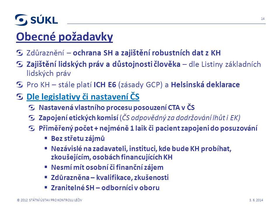 Obecné požadavky Zdůraznění – ochrana SH a zajištění robustních dat z KH Zajištění lidských práv a důstojnosti člověka – dle Listiny základních lidských práv Pro KH – stále platí ICH E6 (zásady GCP) a Helsinská deklarace Dle legislativy či nastavení ČS Nastavená vlastního procesu posouzení CTA v ČS Zapojení etických komisí (ČS odpovědný za dodržování lhůt i EK) Přiměřený počet + nejméně 1 laik či pacient zapojeni do posuzování  Bez střetu zájmů  Nezávislé na zadavateli, instituci, kde bude KH probíhat, zkoušejícím, osobách financujících KH  Nesmí mít osobní či finanční zájem  Zdůrazněna – kvalifikace, zkušenosti  Zranitelné SH – odborníci v oboru 3.