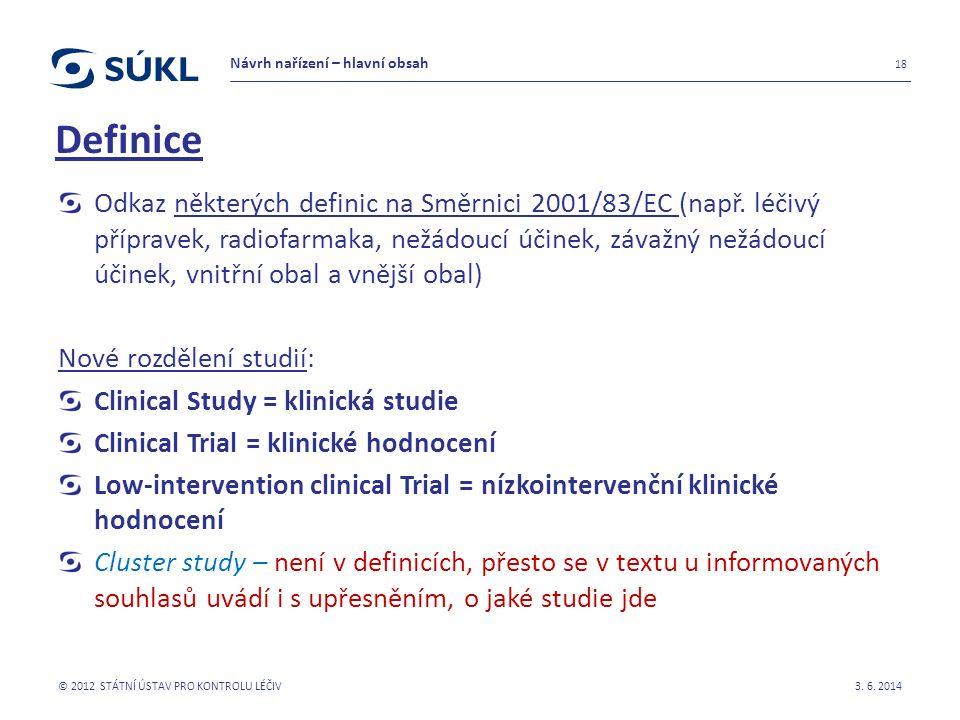 Odkaz některých definic na Směrnici 2001/83/EC (např.