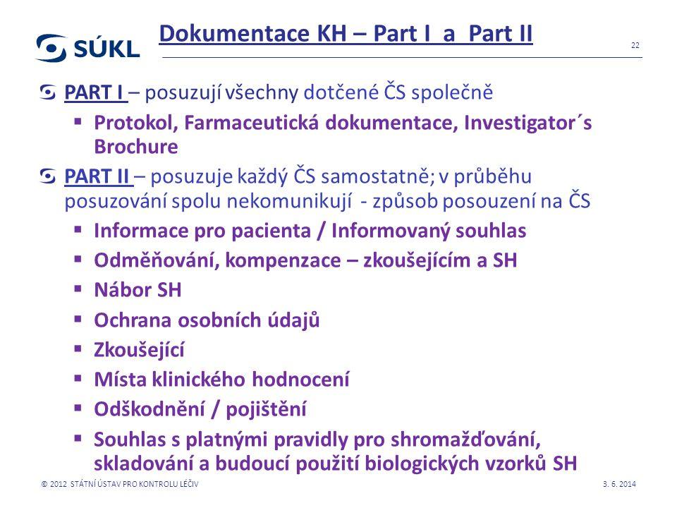 Dokumentace KH – Part I a Part II PART I – posuzují všechny dotčené ČS společně  Protokol, Farmaceutická dokumentace, Investigator´s Brochure PART II
