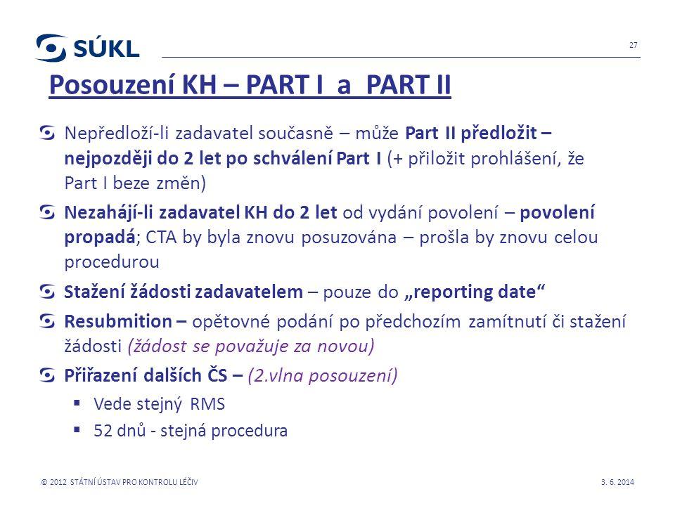 """Posouzení KH – PART I a PART II Nepředloží-li zadavatel současně – může Part II předložit – nejpozději do 2 let po schválení Part I (+ přiložit prohlášení, že Part I beze změn) Nezahájí-li zadavatel KH do 2 let od vydání povolení – povolení propadá; CTA by byla znovu posuzována – prošla by znovu celou procedurou Stažení žádosti zadavatelem – pouze do """"reporting date Resubmition – opětovné podání po předchozím zamítnutí či stažení žádosti (žádost se považuje za novou) Přiřazení dalších ČS – (2.vlna posouzení)  Vede stejný RMS  52 dnů - stejná procedura 3."""