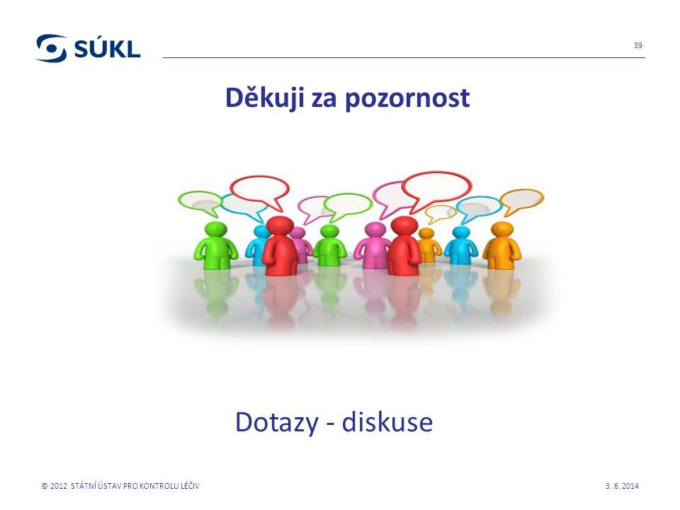Děkuji za pozornost Dotazy - diskuse 3. 6. 2014 © 2012 STÁTNÍ ÚSTAV PRO KONTROLU LÉČIV 39