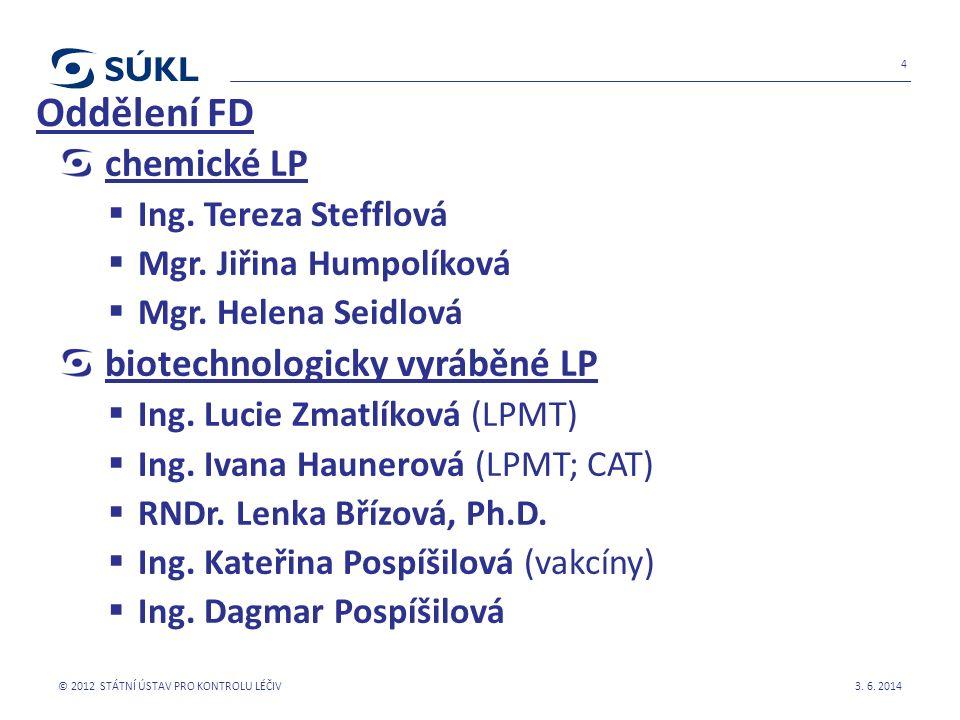 chemické LP  Ing. Tereza Stefflová  Mgr. Jiřina Humpolíková  Mgr. Helena Seidlová biotechnologicky vyráběné LP  Ing. Lucie Zmatlíková (LPMT)  Ing