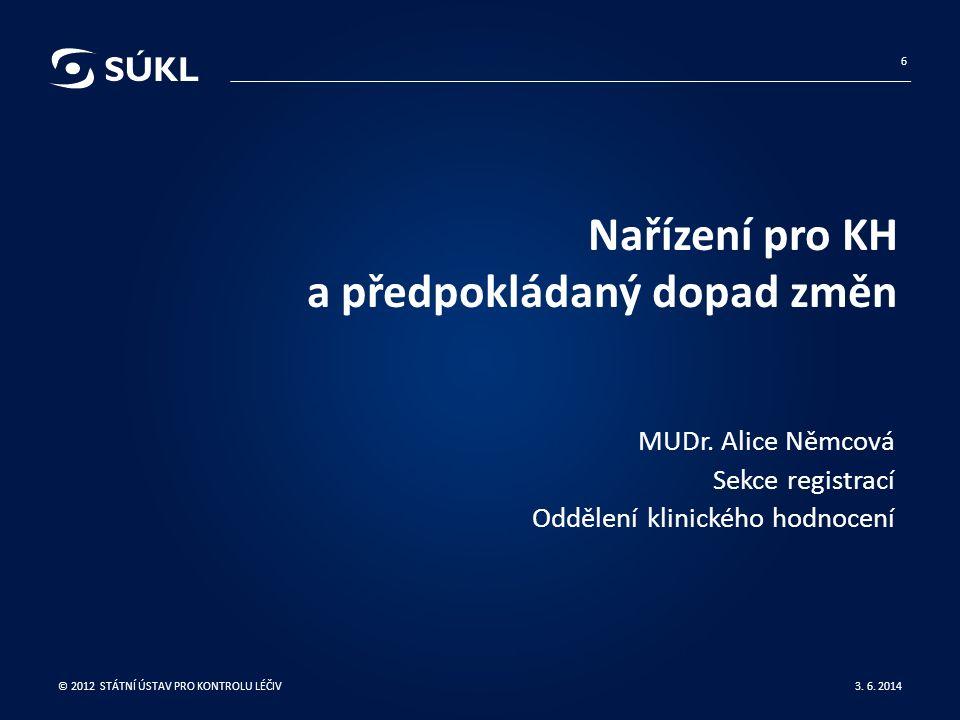 Nařízení pro KH a předpokládaný dopad změn MUDr. Alice Němcová Sekce registrací Oddělení klinického hodnocení 3. 6. 2014 © 2012 STÁTNÍ ÚSTAV PRO KONTR