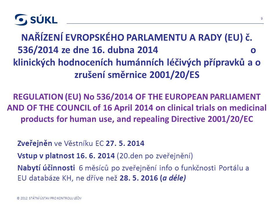 NAŘÍZENÍ EVROPSKÉHO PARLAMENTU A RADY (EU) č. 536/2014 ze dne 16. dubna 2014 o klinických hodnoceních humánních léčivých přípravků a o zrušení směrnic
