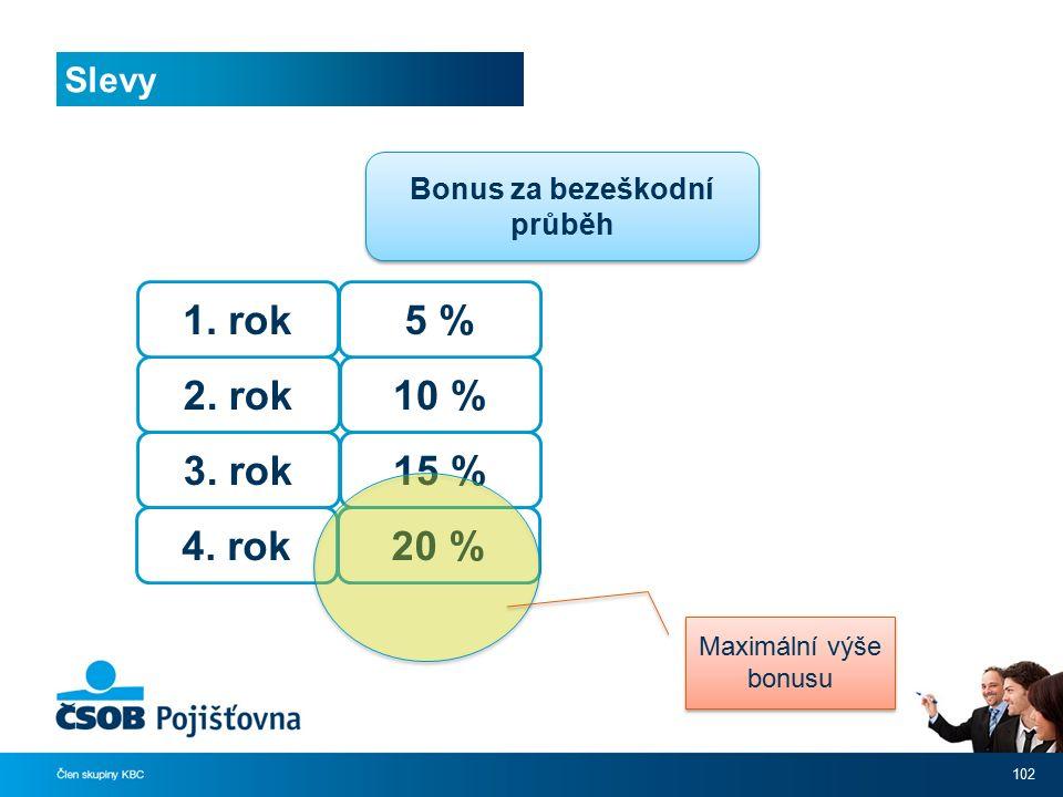 Slevy 102 Bonus za bezeškodní průběh 2. rok 3. rok 4. rok 1. rok 10 % 15 % 20 % 5 % Maximální výše bonusu