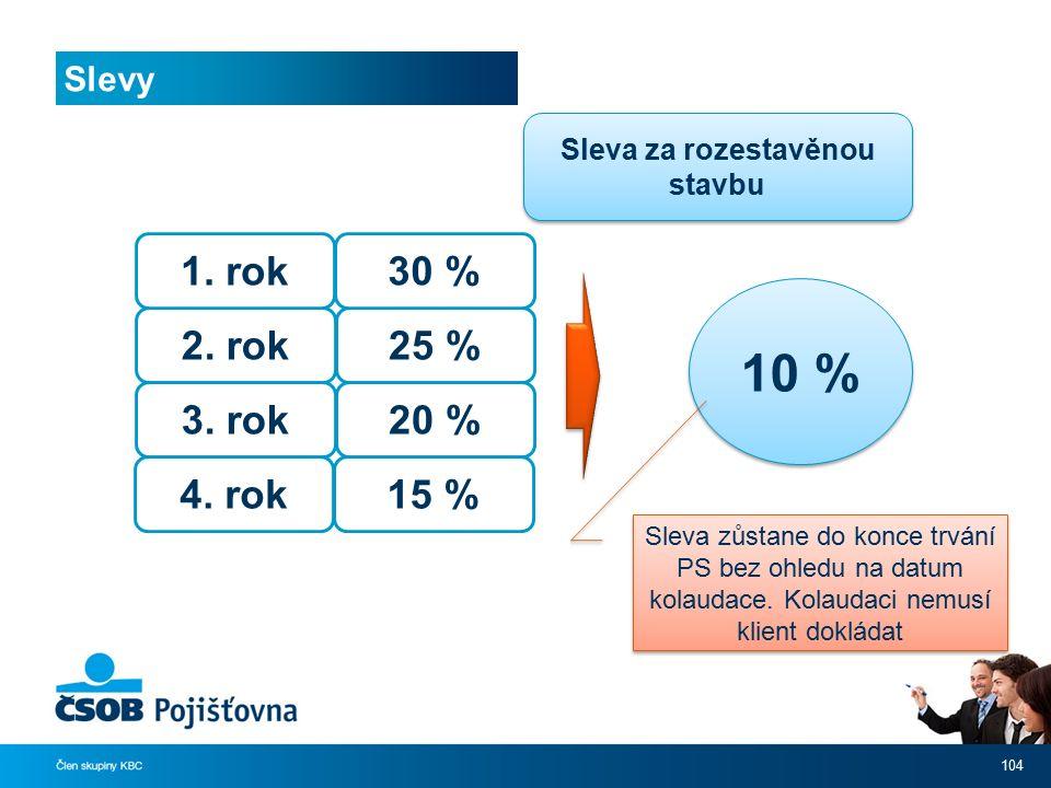 Slevy 104 Sleva za rozestavěnou stavbu 2. rok 3. rok 4. rok 1. rok 25 % 20 % 15 % 30 % 10 % Sleva zůstane do konce trvání PS bez ohledu na datum kolau