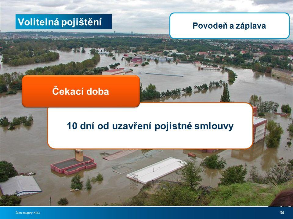 Volitelná pojištění 34 10 dní od uzavření pojistné smlouvy Čekací doba Povodeň a záplava